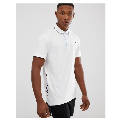 Lacoste Sport twin tipped logo polo in white