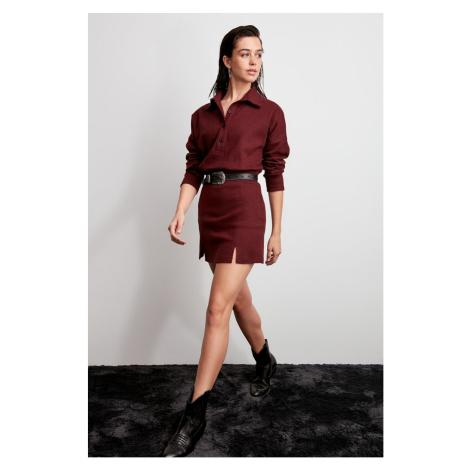 Trendyol Burgundy Fishback Patterned Knitted Skirt