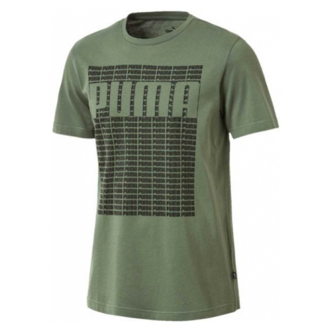 Puma WORDING TEE ciemnozielony S - Koszulka męska