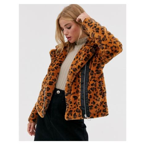 Brave Soul carla faux fur leopard biker jacker