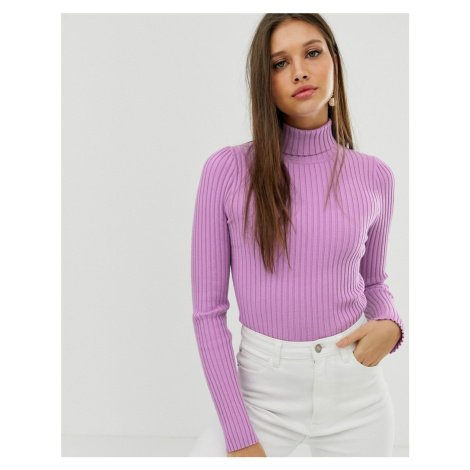 ASOS DESIGN roll neck jumper in fine knit rib