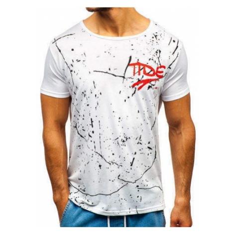 T-shirt męski z nadrukiem biały Denley KS1821 J.STYLE