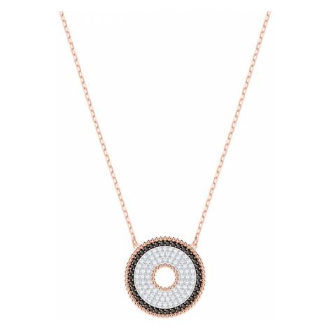 Lollypop Necklace, Black, Rose-gold tone plated Swarovski