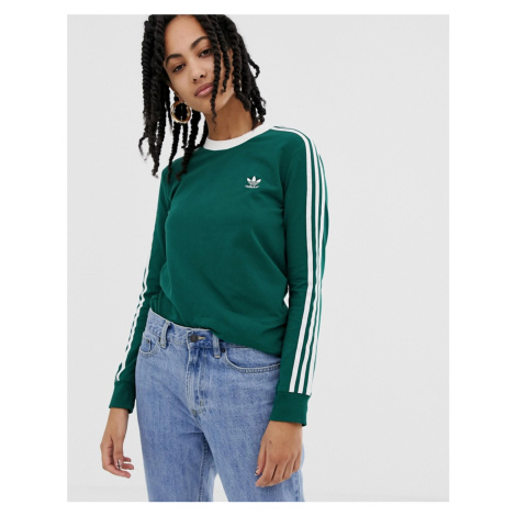 Adidas Originals adicolor three stripe long sleeve t-shirt in green