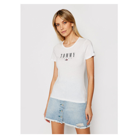 Tommy Jeans T-Shirt Essential DW0DW09926 Biały Skinny Fit Tommy Hilfiger