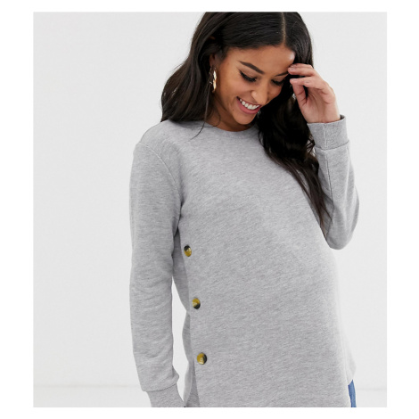 ASOS DESIGN Maternity nursing sweat with button sides in grey