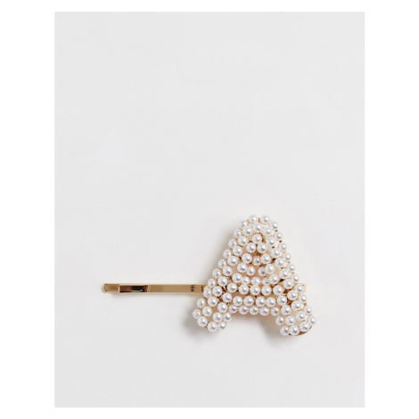 ASOS DESIGN hair clip with pearl 'A' initial in gold tone