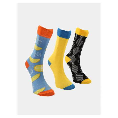 Trendyol 3 pack skarpetek męskich w żółtym i niebieskim kolorze