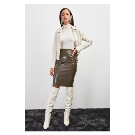 Trendyol Khaki Artificial Leather Knitted Skirt