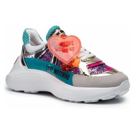 Sneakersy LOVE MOSCHINO - JA15196G1BII565A Glit.Vi/Pe/Pl/Tu