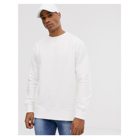 Pull&Bear basic sweatshirt in white Pull & Bear
