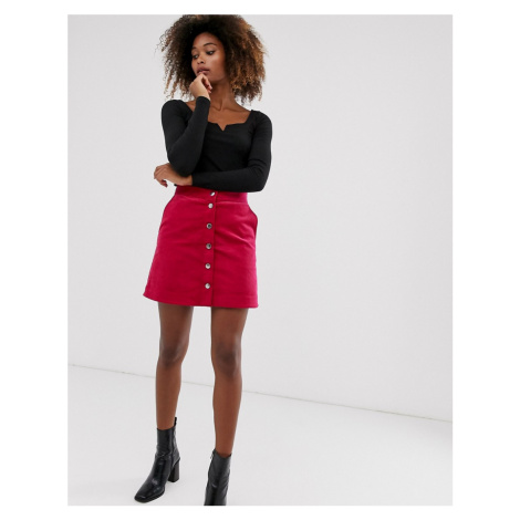 & Other Stories mini cord skirt in pink