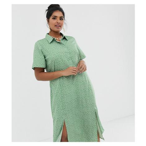 Wednesday's Girl Curve midi dress in ditsy spot print