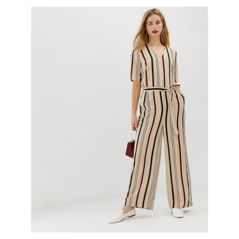 Selected Femme stripe jumpsuit with wide leg