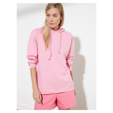 Trendyol różowa bluza damska z kapturem