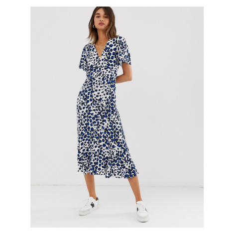 Whistles brushed leopard button midi dress
