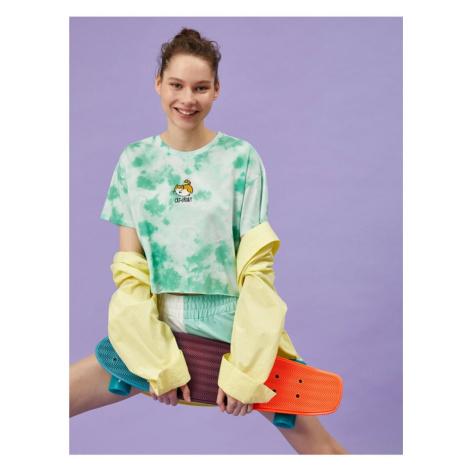 Koton Damska koszulka bawełniana Green Tie Dye