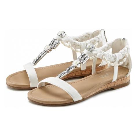 LASCANA Sandały z rzemykami biały
