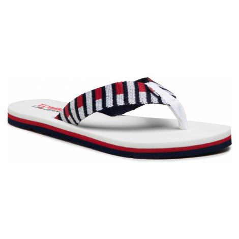 Japonki TOMMY JEANS - Flag Webbing beach Sandal EN0EN01295 White YBR Tommy Hilfiger