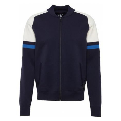 Calvin Klein Jeans Kardigan 'NYLON ZIP UP SWEATER' ciemny niebieski / biały