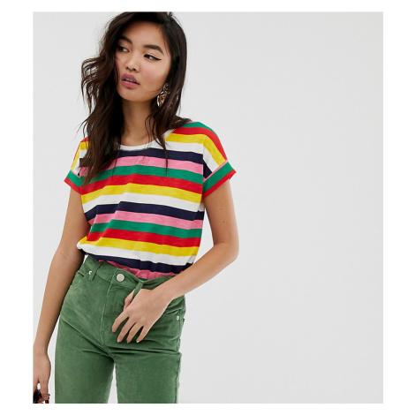 Esprit multi stripe crew neck t-shirt in organic cotton