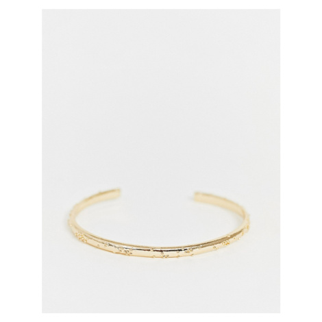 ASOS DESIGN cuff bracelet with ball texture in gold tone