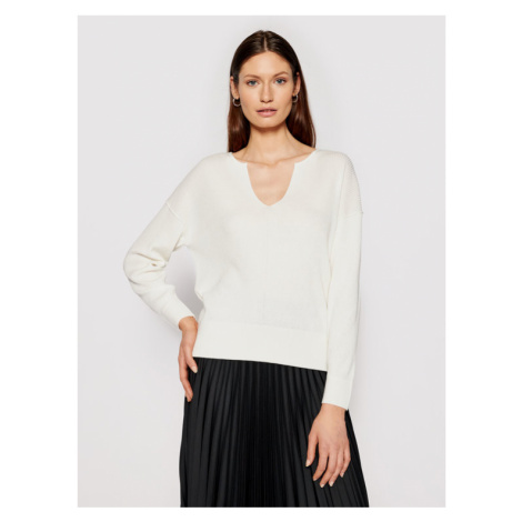 Calvin Klein Sweter Logo Open Neck K20K202907 Beżowy Regular Fit