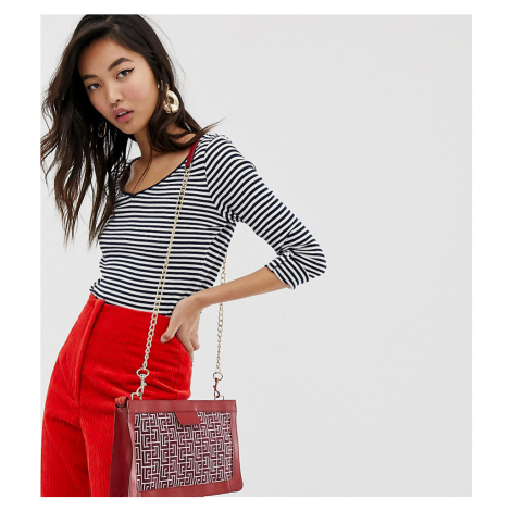 Esprit v-neck long sleeve top with stripe print in white and navy