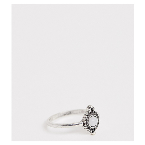 ASOS DESIGN Curve pinky ring with faux moonstone and engraved detail in silver