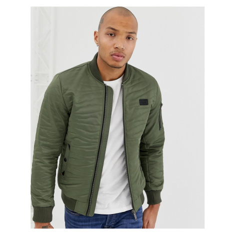 Blend padded bomber with stitch quilting in khaki