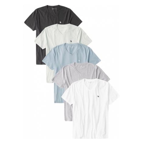 Abercrombie & Fitch Koszulka biały / nakrapiany szary / jasnoszary / czarny / gołąbkowo niebiesk