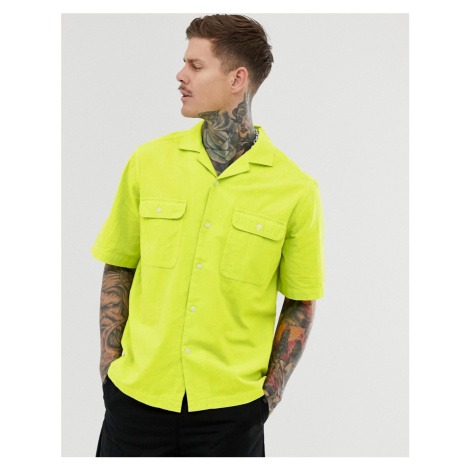 ASOS DESIGN oversized neon texture shirt in green with double pocket