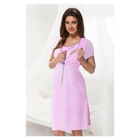 Różowa koszula nocna dla ciężarnych i karmiących Dorota