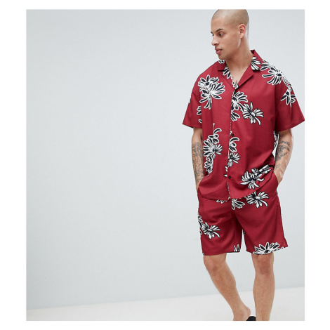 ASOS DESIGN pyjama set in silky fabric with floral print