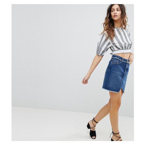 Miss Selfridge Fray Waist Denim Skirt