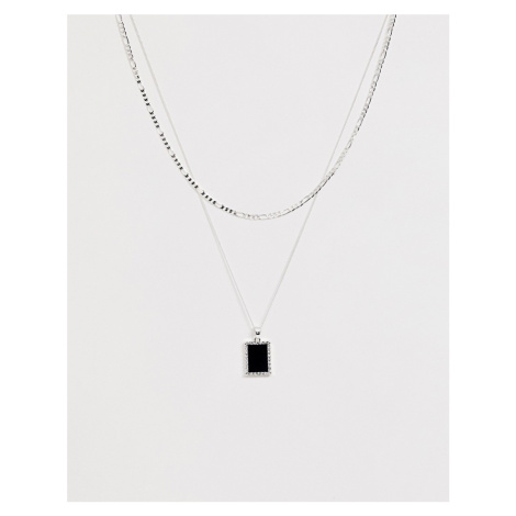 Chained & Able layered mini onyx neck chain in silver