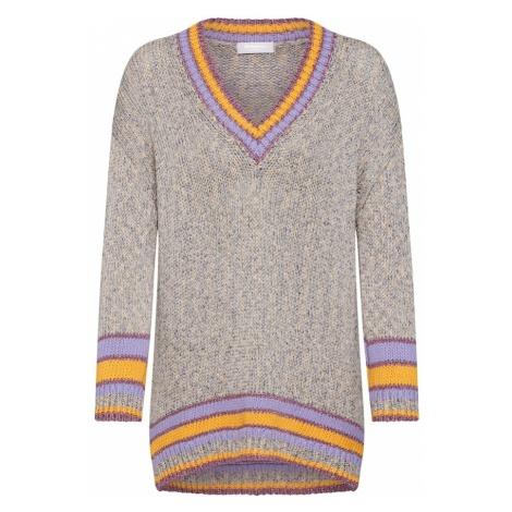 Rich & Royal Sweter 'Mouliné' beżowy / fioletowy / pomarańczowy
