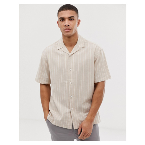 ASOS DESIGN boxy shirt in minimal stripe