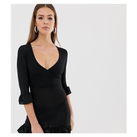 Boohoo basic ruffle trim dress