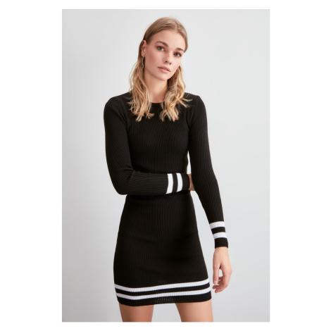 Trendyol Black Skirt Tip Striped Knitwear Dress