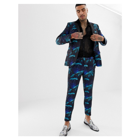 Moss London suit trouser in turquoise floral jacquard MOSS BROS.