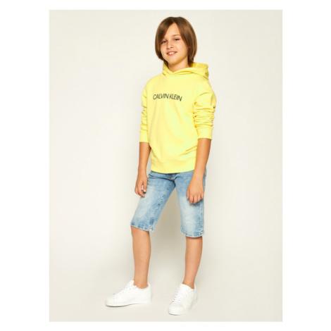 Calvin Klein Jeans Bluza Institutional Logo Hoodie IU0IU00092 Żółty Regular Fit