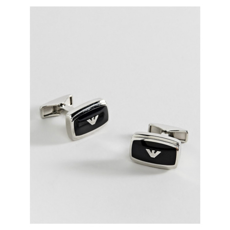 Emporio Armani square logo cufflinks in silver & black