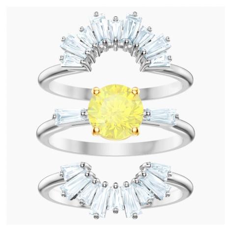 Zestaw pierścionków Sunshine, biały, powlekany rodem Swarovski