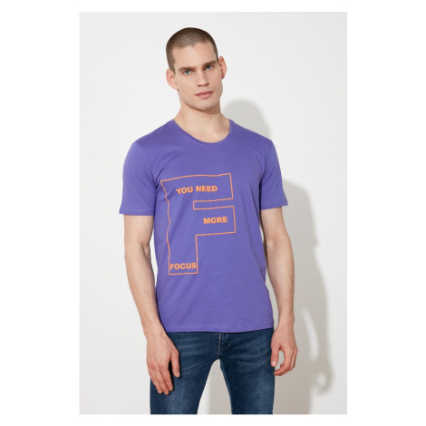 Modsoli Fioletowy T-shirt męski Trendyol