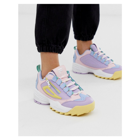 Fila Pink Lilac and Yellow Disruptor 3 Zip Trainers