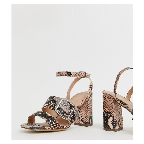 New Look wide fit buckle detail sandal in pink snake