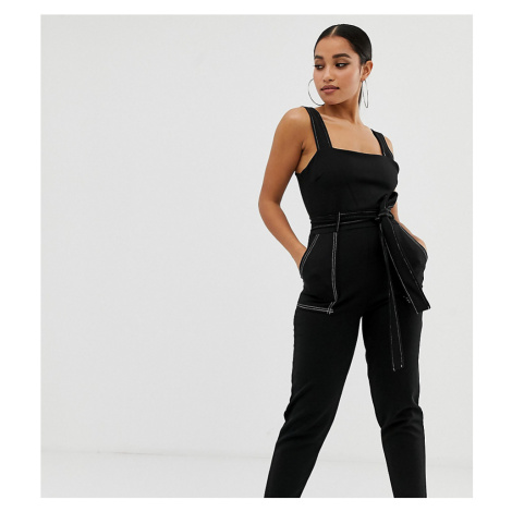 Boohoo Petite exclusive contrast stitch jumpsuit in black