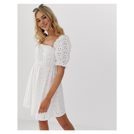 ASOS DESIGN milkmaid broderie mini dress