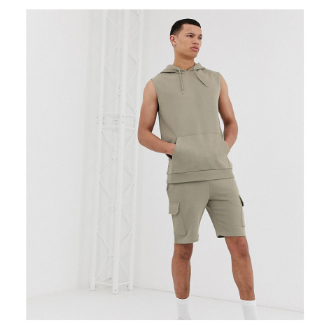 ASOS DESIGN Tall tracksuit with skinny cargo shorts in khaki